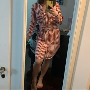Who What Wear Striped Coral Shirt Dress